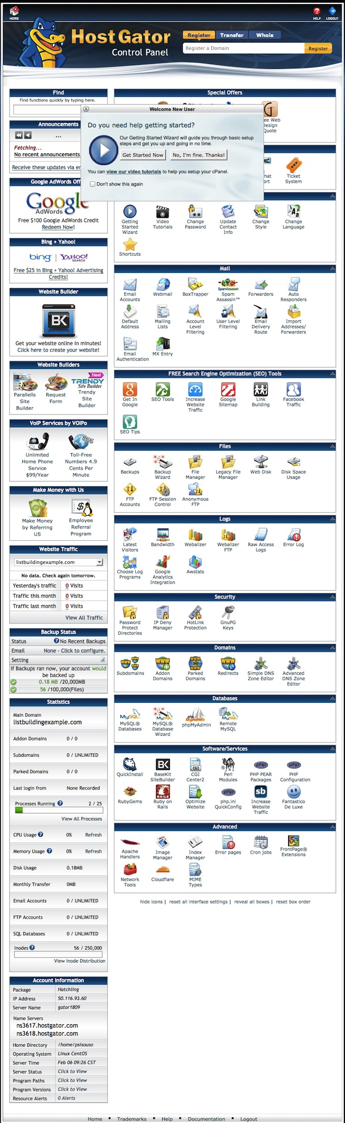 cpanel options