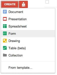 Google Docs: Creating a new survey