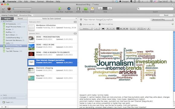 Evernote for mac main menu
