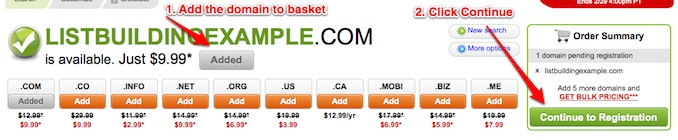 godaddy domain added to cart