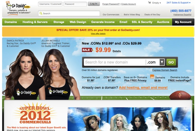 Registering a domain: GoDaddy Homepage