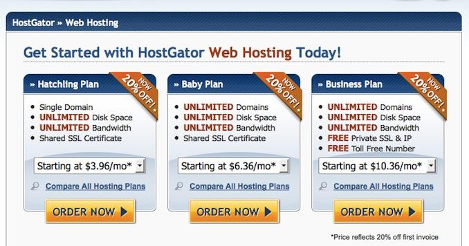 hostgator hosting plans